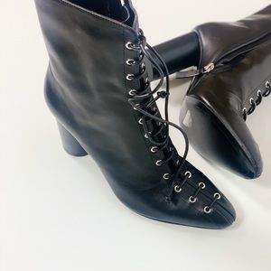 ZARA leather cylinder heeled ankle boots size 39
